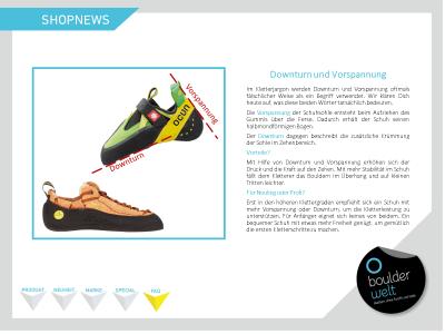 Shopnews. FAQ zu Vorspannung und Downturn bei Kletterschuhen.