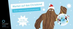 Kinderprogramm beim Warten auf das Christkind an Weihnachten in der Boulderwelt Regensburg mit Bouldern, Basteln und große Yaffis backen