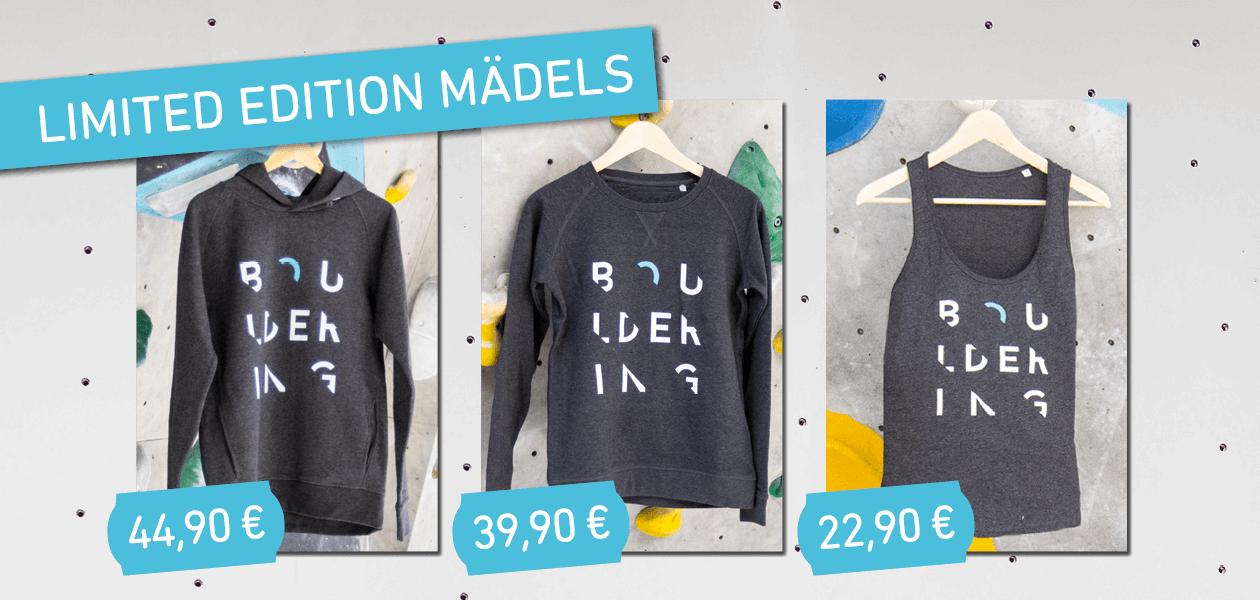 Die neue Boulderwelt Kollektion als Limited Edition ist da! Für Mädels gibts Hoody, Sweater und Top!
