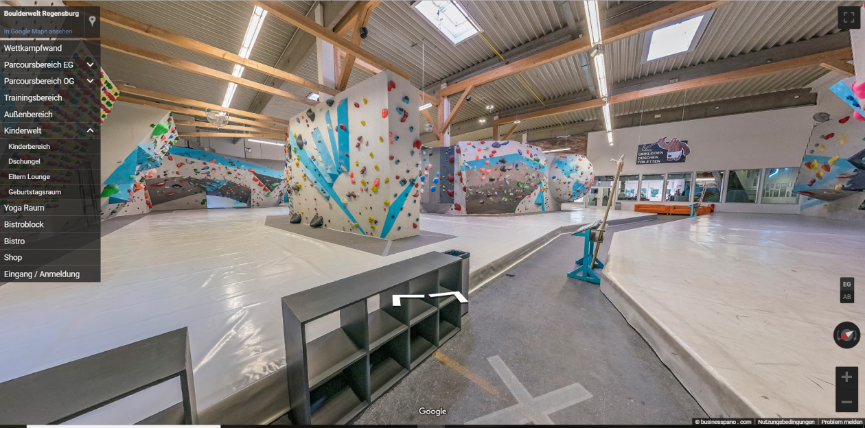 Virtueller Rundgang Regensburg Boulderwelt Übersicht Halle